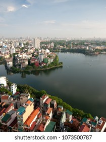 Vertical image of the Cityscape of Hanoi city the capital town of Vietnam, Asia