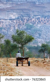 A vertical image of a Dogon man with donkey and cart approaching a village at the base of the Bandiagara escarpment in Mali