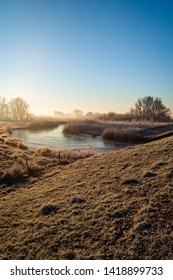 Vertical image of the Dutch National Park Biesbosch in the winter season. It is still early in the morning and the morning mist is visible in the distance. A thin layer of ice is on the creek.