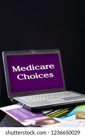 vertical image, laptop medicare choices and mailbox flyers