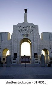Vertical image of the Los Angeles Memorial Coliseum, former location of the Olympic Games and current home field for the USC Trojans