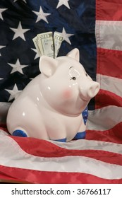 vertical image of piggy bank on an american flag