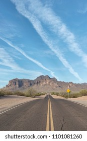"""Vertical image of the road leading to The Superstition Mountains, popularly called """"The Superstitions,"""""""