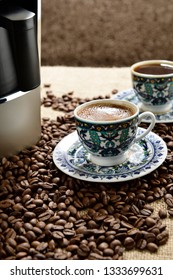 Vertical Image of Traditional Turkish Coffee