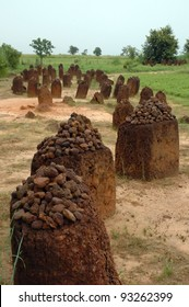 A vertical image of the Wassu stone circles in The Gambia