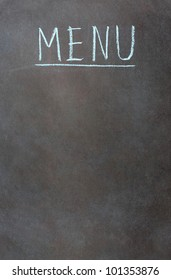 Vertical image with word menu on a green chalkboard