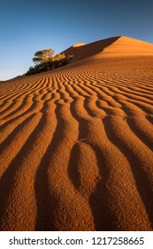 A vertical landscape photograph of patterns and  ripples in a sand dune in the Namib Desert in Namibia during sunset with a clear blue sky.