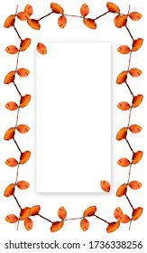 Vertical leaves frame surrounding one white rectangular shape with shadow. Useful for banner, labels, invitation or greeting cards.