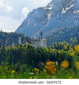 Vertical low view of Neuschwanstein Castle, Bavaria, Germany.