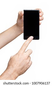 Vertical mockup of male hand holding frameless cell phone and pointing at black screen at white isolated background.