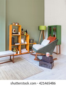 Vertical modern living room chair green wall and lamp, carpet, green cupboard