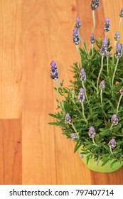 Vertical orientation color image close up of lavender blossoms in the foreground, with a wooden floor in the background, with copy space