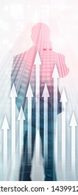 Vertical Panorama Banner. Up arrow graph on skyscraper background. Invesment and financial growth concept