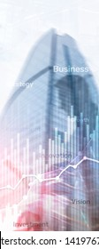 Vertical Panorama Banner. Business abstract background double exposure graph, chart and diagram. World wide map and. Global business and financial trading concept.