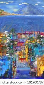 Vertical panorama of Italian town