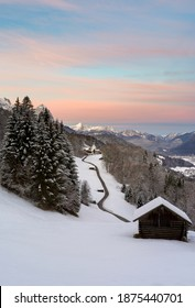 Vertical panorama of romantic wintery landscape in the mountains