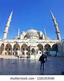 Vertical panoramic view of Blue Mosque Sultanahmet with blue sky