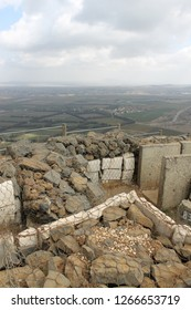 Vertical panoramic view of Syria from concrete trenches on Mount Bental Israeli military outpost on the border - disused bunker in the Golan Heights