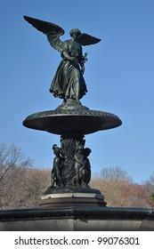 vertical photo of Bethesda Fountain in Central Park, Manhattan, New York.