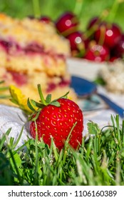 Vertical photo with detail of ripe red strawberry. Fruit is placed on white towel in a garden with two portions of cherry cake. Next cherries are placed in background in bowl.