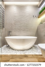 Vertical photo of elegance bright bathroom interior with white tub, stones and green plants on shelves