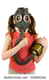 vertical photo  little girl  in gas mask, on white background, isolated