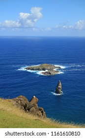 Vertical Photo of Motu Nui Island, with the smaller Motu Iti Island and the Motu Kao Kao Sea Stack as seen from Orongo Village on Easter Island, Chile