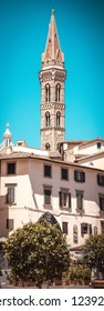 Vertical photo with narrow and high tower in famous Italy city Florence. City is in Tuscany. Sky is blue without clouds. Several houses and trees are in foreground.