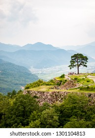 Vertical photo of tourists and visitors and a lone tree at Takeda Castle Ruins located in Hyogo Prefecture's Asago City in Japan, which is a famous and popular side trip from nearby Himeji.