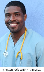 Vertical photo of a very attractive African American male nurse