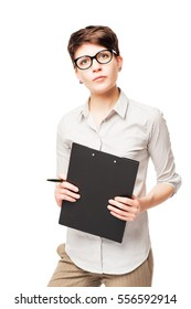 vertical portrait of a 25 year old business woman with a folder on a white background