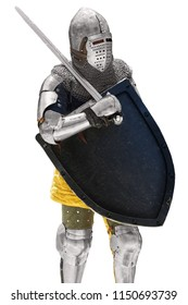 Vertical portrait of a medieval knight with a sword and shield isolated on a white background.