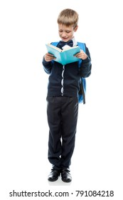 vertical portrait of a schoolboy with a full length textbook isolated