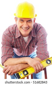 vertical portrait of a smiling handsome man-builder in helmet with tool on a white background