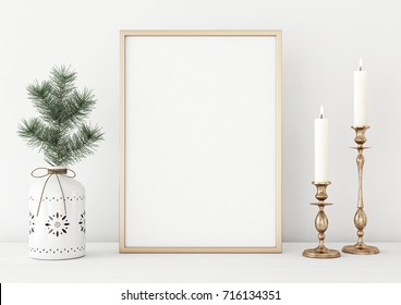 Vertical poster mock up with golden frame, candles and pine branch in vase on white wall background. 3D rendering.