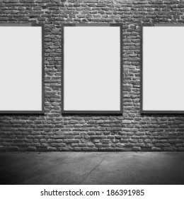 Vertical poster on textured wall. Blank template