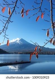 Vertical POV of Mount Fuji seen from Lake Kawaguchi, Japan