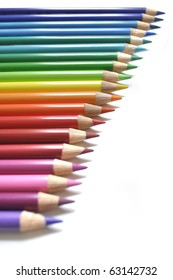 Vertical rainbow of color pencils