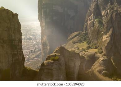 Vertical rock formations of Meteora in Greece.