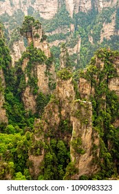 The vertical rock formations of Zhangjiajie National Forest Park, Hunan Province, China