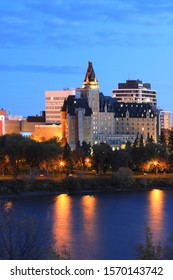 A Vertical of Saskatoon, Canada cityscape at night