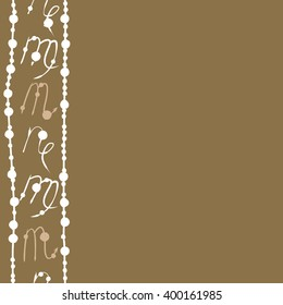 Vertical seamless  pattern of zodiac signs motif,scorpio, capricorn,virgo, object,stripes, copy space. Hand drawn.