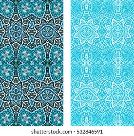 Vertical seamless patterns set, floral geometric lace texture for Wedding, Bridal, Valentine's day, greeting cards, Birthday Invitations. Decorative ethnic backgrounds collection, ornate illustration