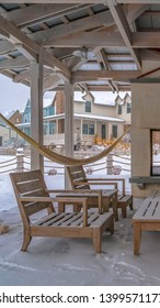 Vertical Seating on the snowy patio of a clubhouse in Utah