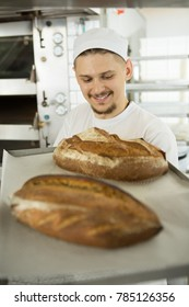 Vertical shot of a cheerful baker smiling carrying a tray with freshly baked bread walking in the kitchen at his bakery positivity professionalism confidence success business owner occupation chef