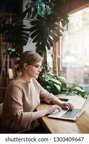 Vertical shot of good-looking urban businesswoman in beige pullover and glasses, working near window with laptop, staring seriously at screen while collecting data for company project, studying hard