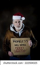 Vertical Shot Of Homeless Man Needed Help During The Holidays/ Homeless Man During Christmas