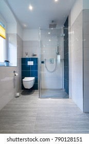 Vertical shot of a luxury bathroom with large, walk-in shower. Blue and white tiles