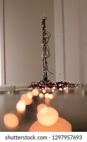 Vertical shot of an oboe with lights