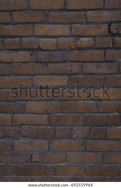 Vertical shot of an old, worn brick wall